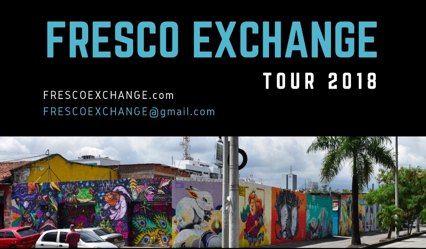 "Fresco Exchange is an ""intercambio artistico"" that promotes and connects artists from Latin America and the US through creative programs and artistic interventions. We believe art can serve as a tool to travel, learn and experience new cultures. Our resources help many artists transcend socio-political boundaries, which can prevent individuals from traveling freely across nations. We help our diverse network of artists share their visions with broader audiences and expand their creative presence internationally. By hosting residencies for public art projects across countries, we can also inspire our local communities with new ways of creative thinking.Fresco has organized 5 exhibits with 60+ artists, starting at the Cambridge Innovation Center in the US in 2016, and leading to the Ministry of Culture in Cali, Colombia in 2017. We've also hosted 3 artists in Colombia to participate in the Muro al Barrio project, an intervention to transform areas of Cali through urban art, research and community engagement. In Fall 2018, we're thrilled to welcome four artists to the US, and we're excited to see what comes next. -"