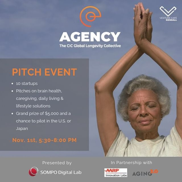 THIS THURSDAY: First we celebrate (2pm ribbon cutting ceremony at 245 Main, Kendall Square), then we get right to work! Join us for the inaugural pitch event by AGENCY, the CIC Global Longevity Collective. Together we can build an age-friendly world through #innovation.