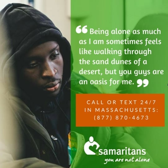 If you're feeling isolated, lonely, depressed, or need someone to talk to, call or text the @samaritanshope 24/7 helpline: (877) 870-4673. It's free and confidential. #worldsuicidepreventionday