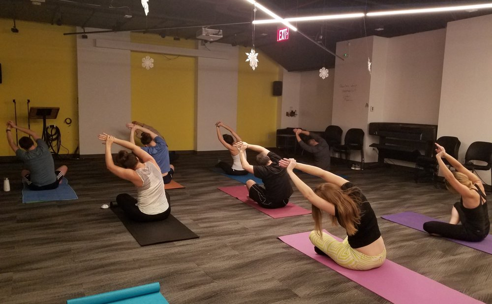 A lunchtime yoga class at CIC Boston. Photo by Shakti Rowan.