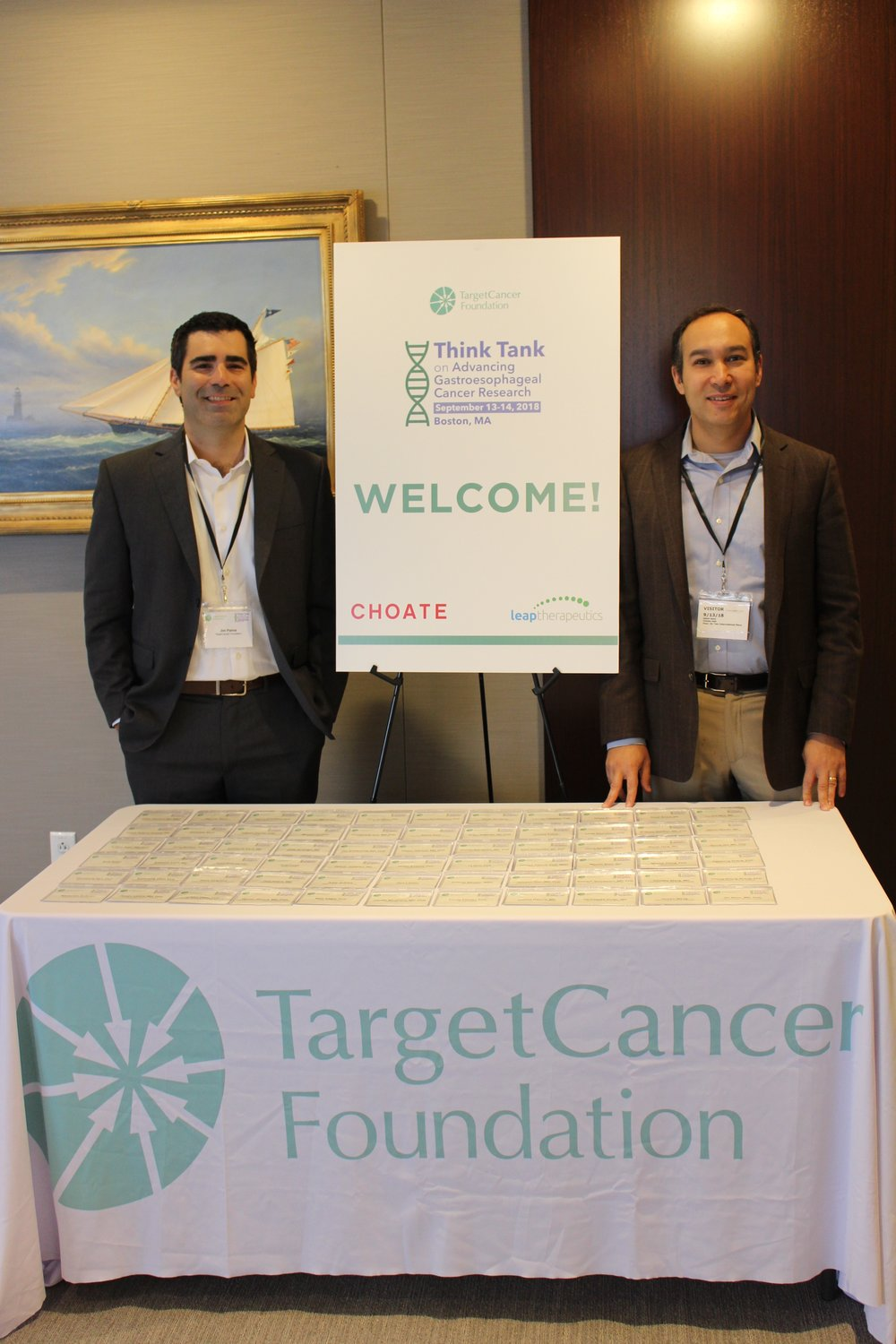 Jim Palma, left, and Adam Bass, MD, an esophageal cancer researcher supported by the foundation, at the 2018 Think Tank on Advancing Gastroesophageal Cancer Research.