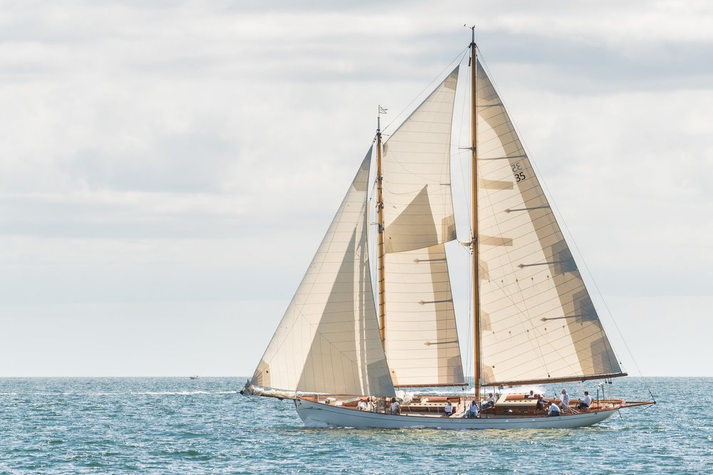 "Gannon & Benjamin schooner ""Juno"" under full sail in Vineyard Sound"