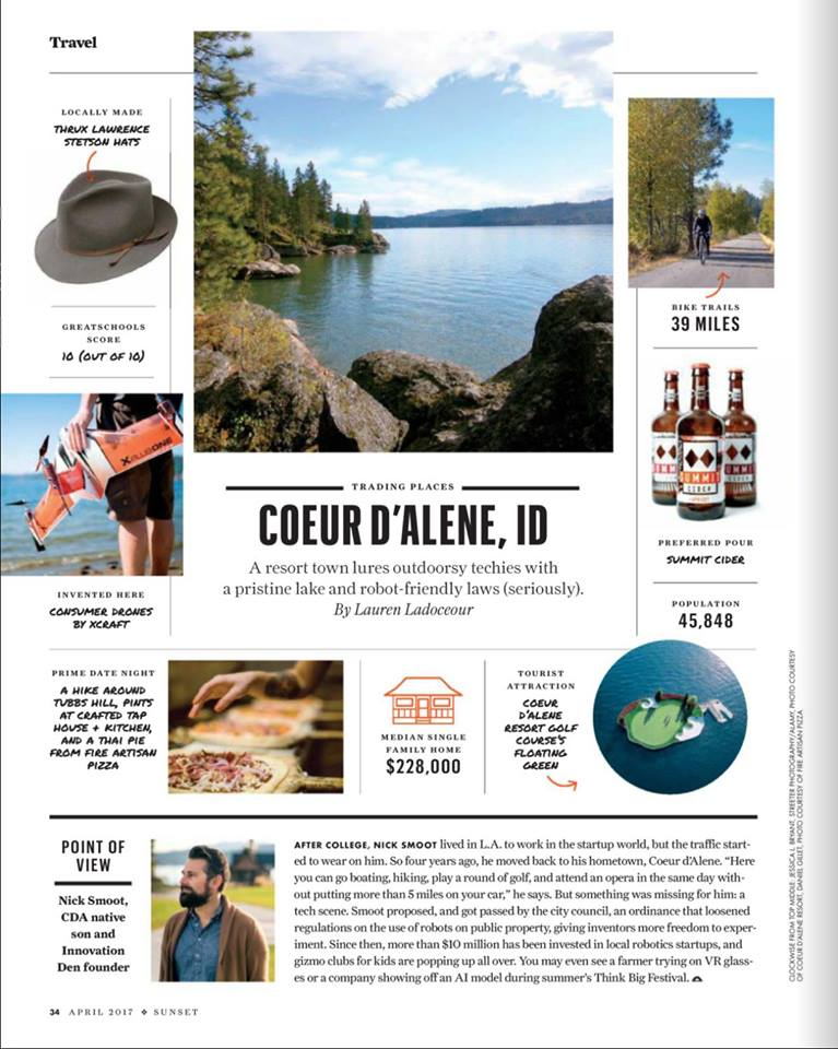 Article in Sunset Magazine about the tech community in Coeur d'Alene.
