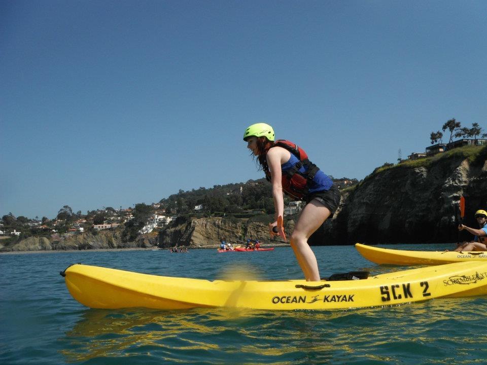 La Jolla Coves- Charlene Kayaking and Practicing Balancing