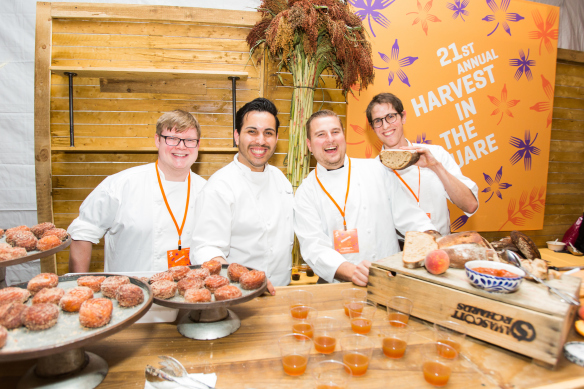 The Union Square Cafe team including Pastry Chef Daniel Alvarez and Head Baker Justin Rosengarten at the 21st Annual Harvest in the Square.