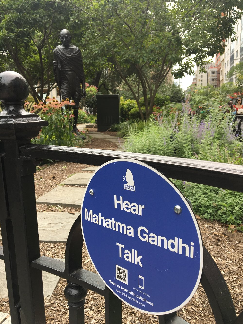 Gandhi's statue along Union Square East offers to speak in English or Hindi
