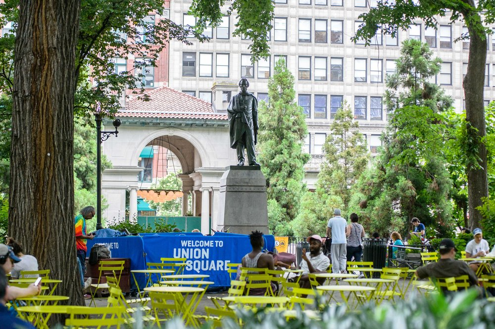 USP's new bistro furniture enables people to grab a seat and enjoy Union Square Park.
