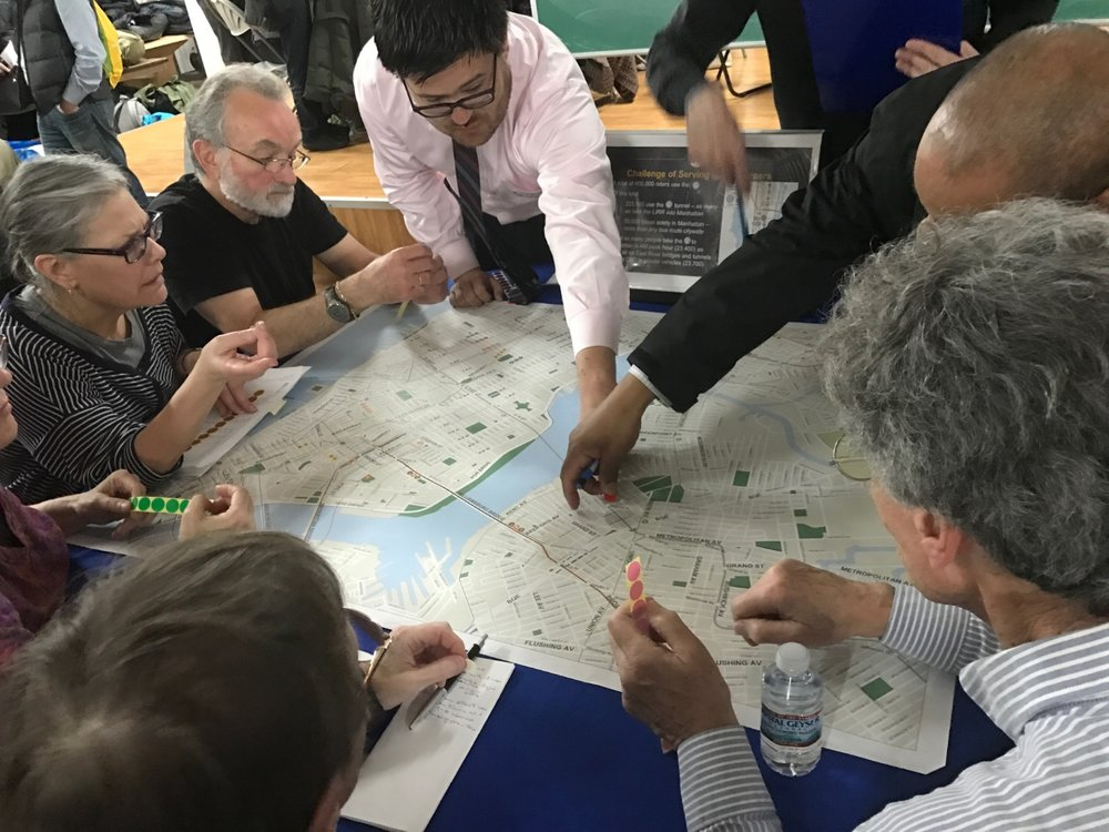 Participants at the MTA and NYC DOT's 2017 workshops, where agencies gathered input on early closure plans.