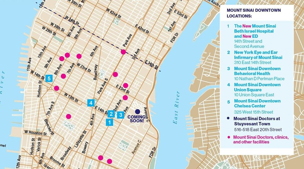 "Mount Sinai Downtown aims to create a ""river-to-river"" network of health facilities. Several are located in proximity to Union Square. Image Source: Mount Sinai Health Systems"
