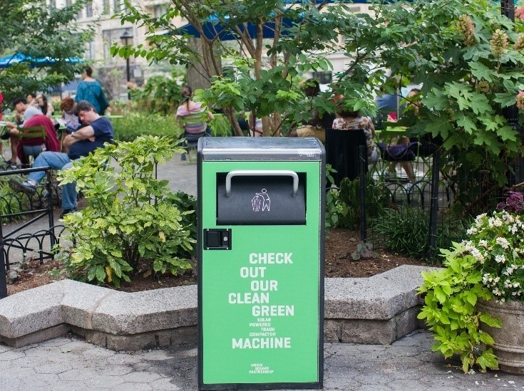 Solar compacting Big Belly trash receptacles in Union Square Park