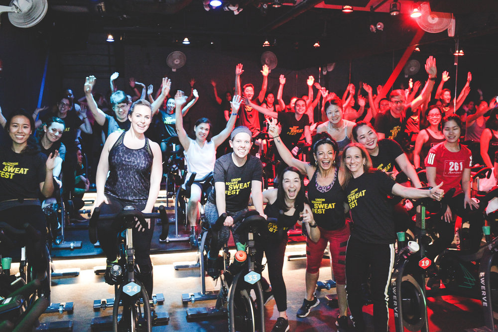 2018 Sweat Fest Opening Event at Swerve cycling studio. Photo: Liz Ligon
