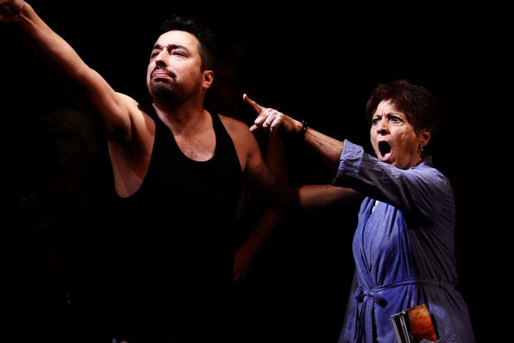"Ethyn Gutierrez and Barbara Murn in ""Two Lies and the Truth?"" by Archer C. Williams"