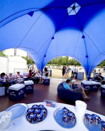 Giant tent, beanbags and ottomans