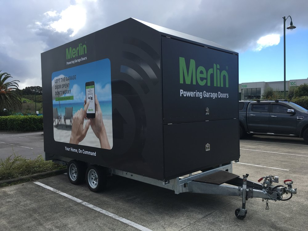 Merlin Garage Doors Trailer - Side and Front View