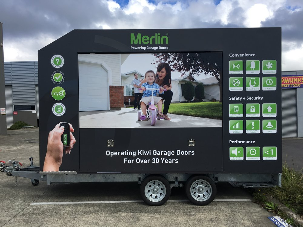 Merlin Garage Doors Trailer - Side View