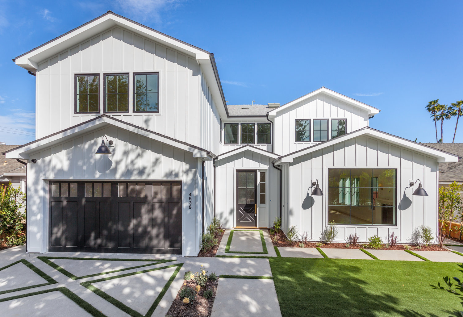 Beeman studio city stylish modern craftsman board and batten facade with clean contemporary streamlined