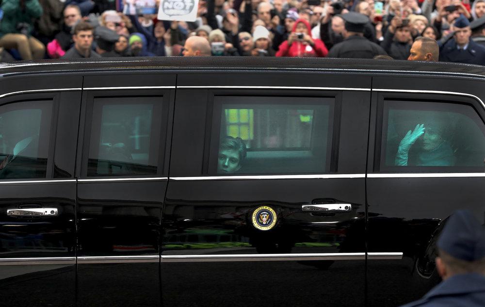 Barron and Melania Trump during the Inaugural Parade in Washington, DC.