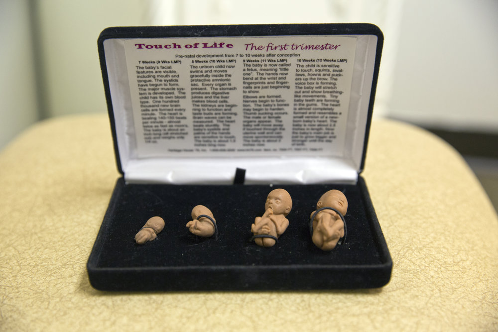 Rubber figurines of fetuses in a jewelry box are used during counseling sessions to encourage women not to have abortions at the anti-abortion pregnancy center, Her Choice Birmingham Women's Center, in Birmingham, Alabama.