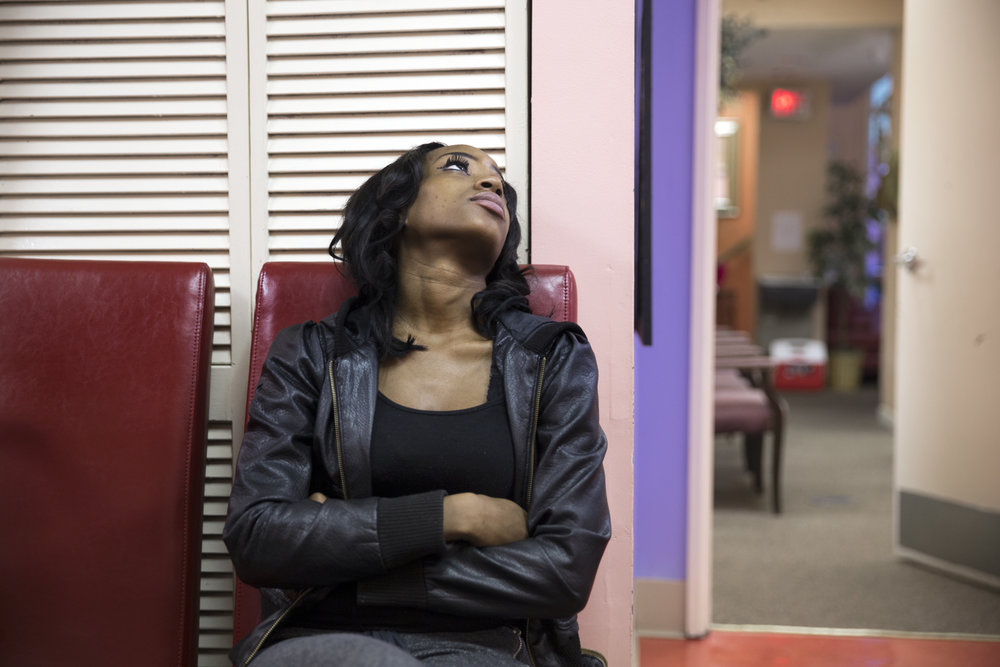 Leshae Phinisee, 23, from Greenville, Mississippi, waits to get counseling from the doctor at the Jackson Women's Health Organization. Leshae, the mother of three, did not want to have more children, and was hoping to terminate her pregnancy the next day, following the state mandated 24-hour waiting period. However, her ultrasound revealed that she is 17-weeks and 1 day pregnant, and the clinic in Jackson does not provide abortions after 16 weeks. Leshae left the clinic devastated after she is told she will have to travel even farther, to Huntsville, Alabama to a clinic that does abortion up to 20 weeks.