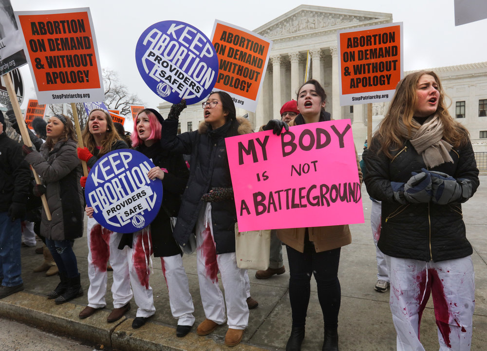 Pro-choice demonstrators hold a counter demonstration outside the Supreme Court during the annual March for Life in Washington, DC.