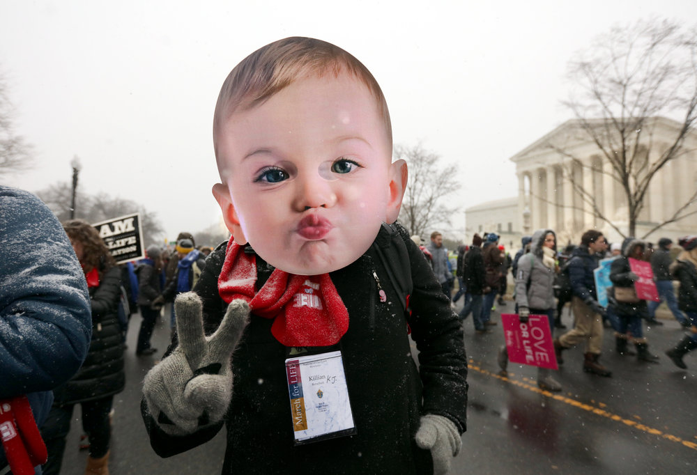 Anti-choice demonstrators attend the annual March for Life rally in Washington, DC, on the anniversary of the Roe v. Wade.