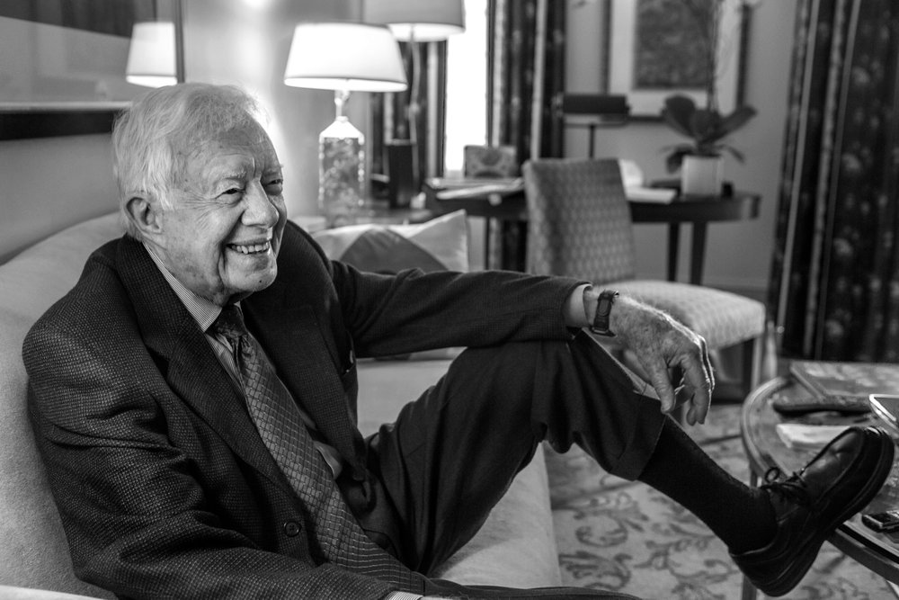 President Jimmy Carter in his hotel room at the Mandarin Oriental in Washington, DC.