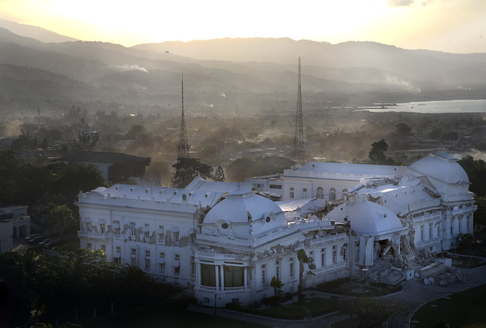 The destroyed National Palace in downtown Port-au-Prince.