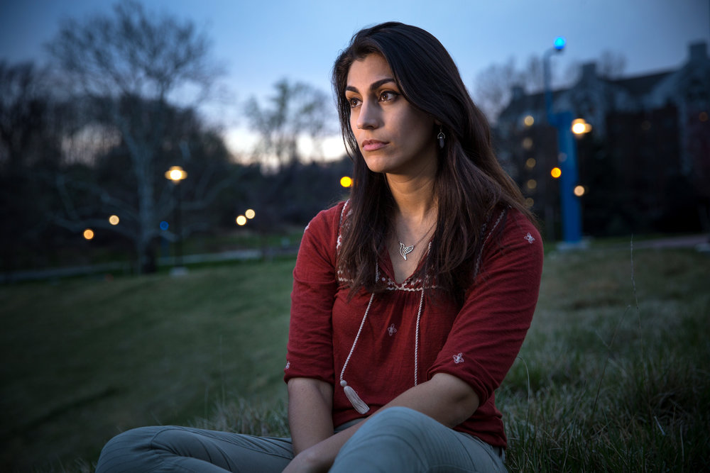 "Saalika Khan, 25, is finishing her bachelor's degree at Towson University. She is an outspoken advocate of bystander intervention. When she was 18, at a community college, someone tried to assault her. She was sleeping alone in a friend's bedroom, when a slightly older man she didn't know came into the room and started kissing her neck, put his arms around her and tried to get into bed with her. She fought back, slapped him, punched him in the chest, and shoved him. ""I got out of there….When I look back on that, it could have gone much worse."""