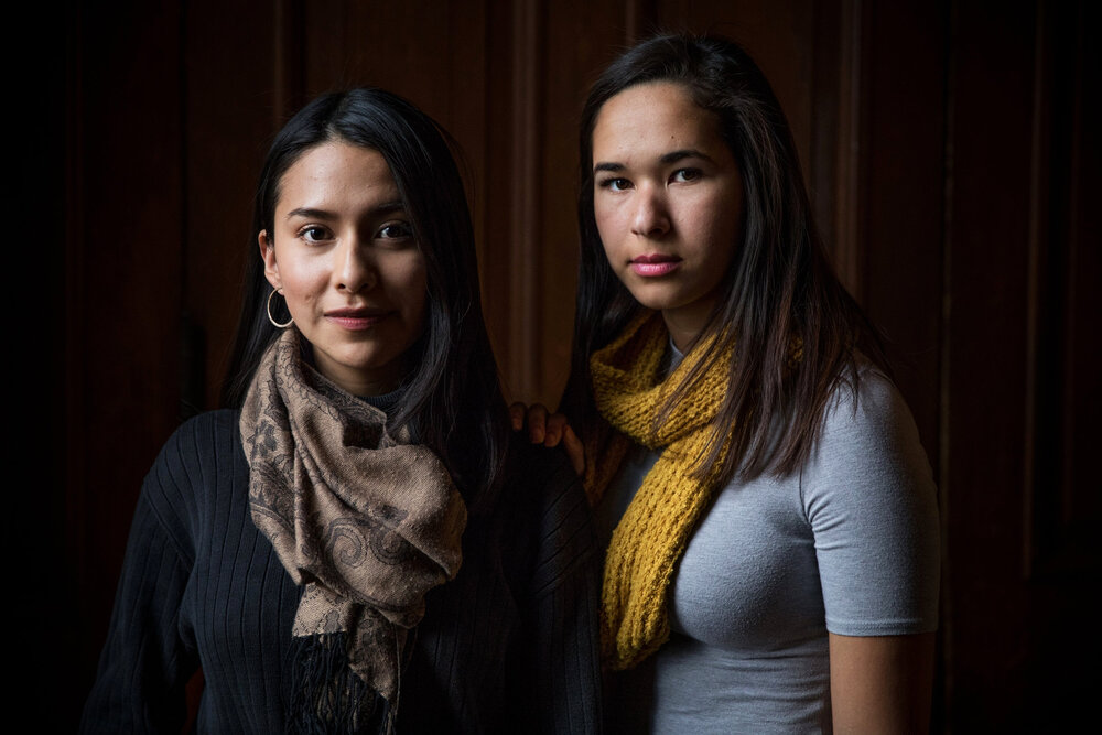 Dreamers. Abigail Titvana, 21 and Bruna Distinto, 22, at Trinity College in Washington, DC, where they are seniors and also Dreamers. Originally from Equador and Bolivia, they came to the United States as small children, and have DACA protection for one more year.