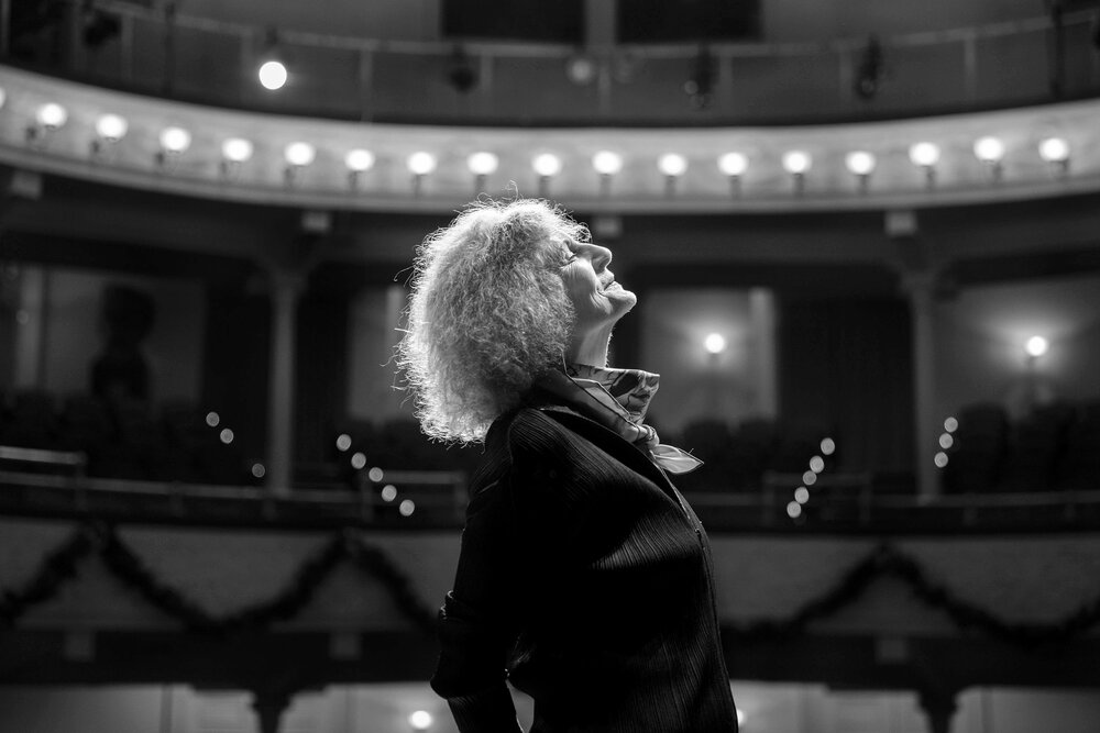 Playwright Timberlake Wertenbaker on stage at Ford's Theatre, in Washington, DC, December 29, 2017. Timberlake's play is part of the second Women's Voices Theater Festival in DC, coming during the #MeToo movement.