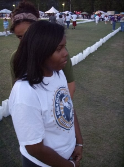Sophomore year of college, about 2004-2005. At this point, I fully embraced relaxers. Note by best friend peeking out from behind me. :)