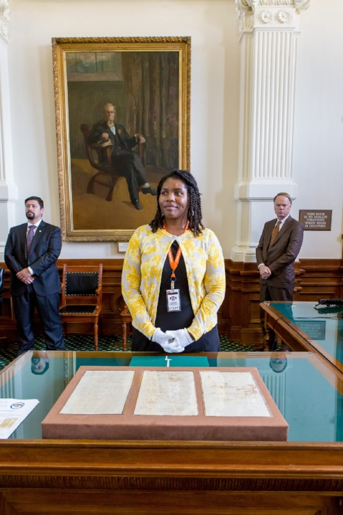 Oh that's just me hanging out in the Texas Senate floor showing senators a handwritten copy of the Texas Declaration of Independence as one does.