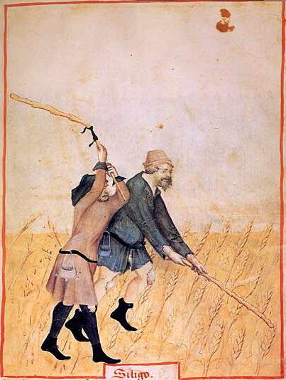 Bauern mit Gürteltaschen im 15. Jahrhundert, Abbildung aus dem Tacuinum sanitatis