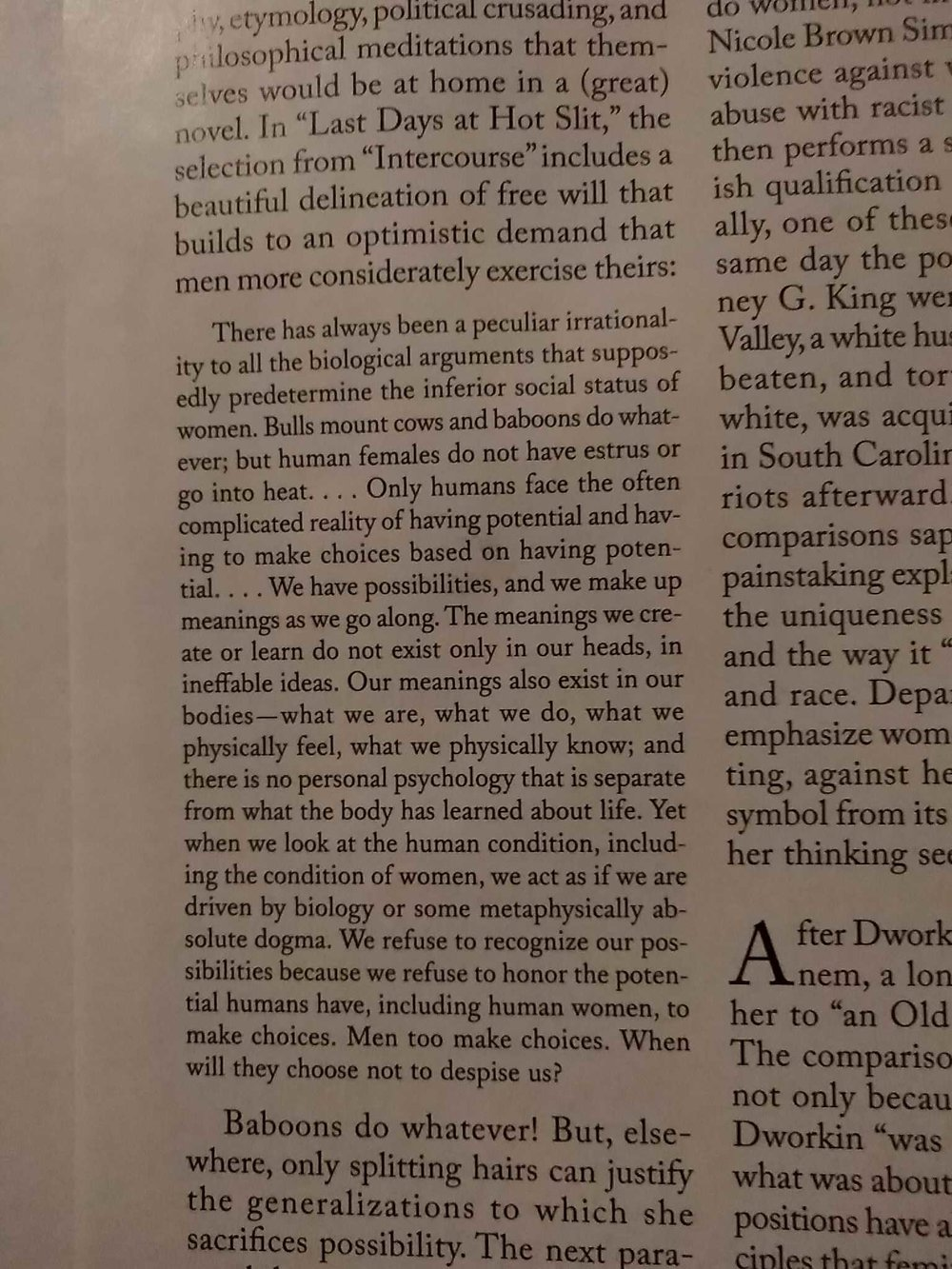 Andrea Dworkin - passt zu unseren Artikeln  Die Rückkehr der Steinzeit?  und  Wollen Frauen Alphamänner?