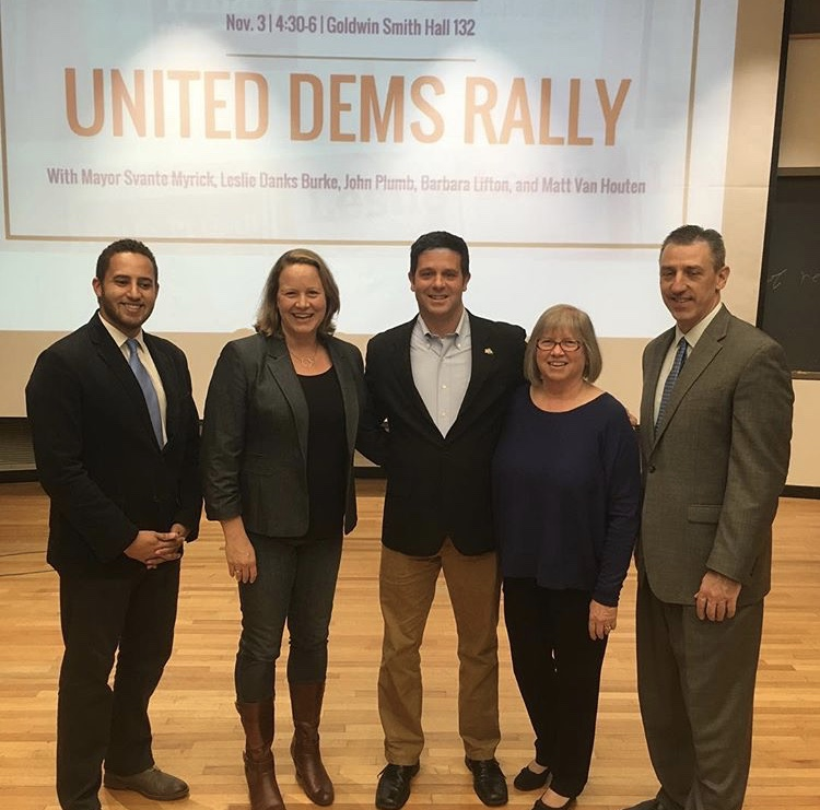 The Cornell Democrats were honored to host Mayor Svante Myrick, Leslie Danks Burke, John Plumb, Assemblywoman Barbara Lifton, and Matt Van Houten for our United Dems Rally prior to the elections.