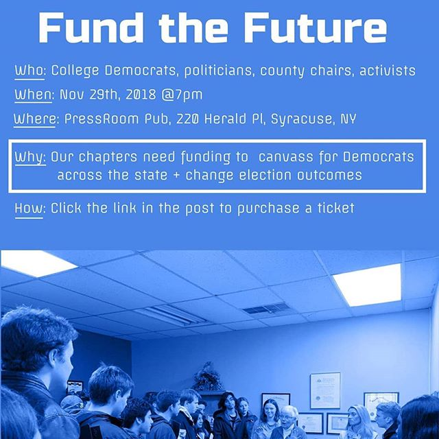 #Fundthefuture with @collegedemsny! Tickets: tinyurl.com/y72pmktz