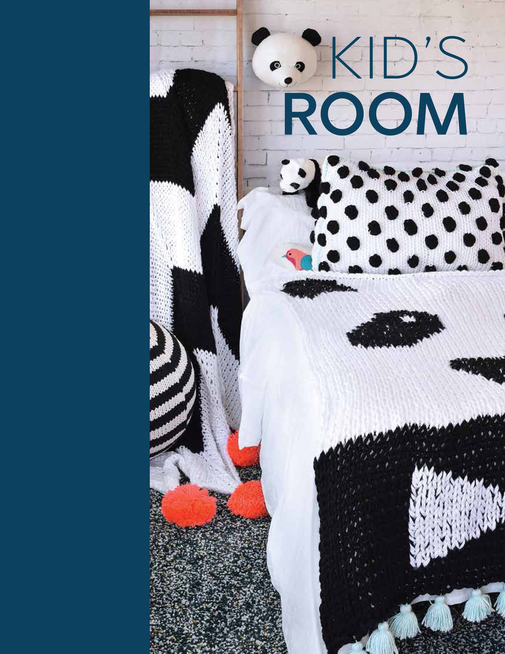 Kid's Room - Chevron BlanketPanda Throw BlanketDouble Stuffed Polka Dot PillowcaseStripy Ball Cover