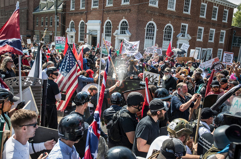 Source: The NY TImes; violent clash between White Supremacists and counter-protestors in Charlottesville, VA.
