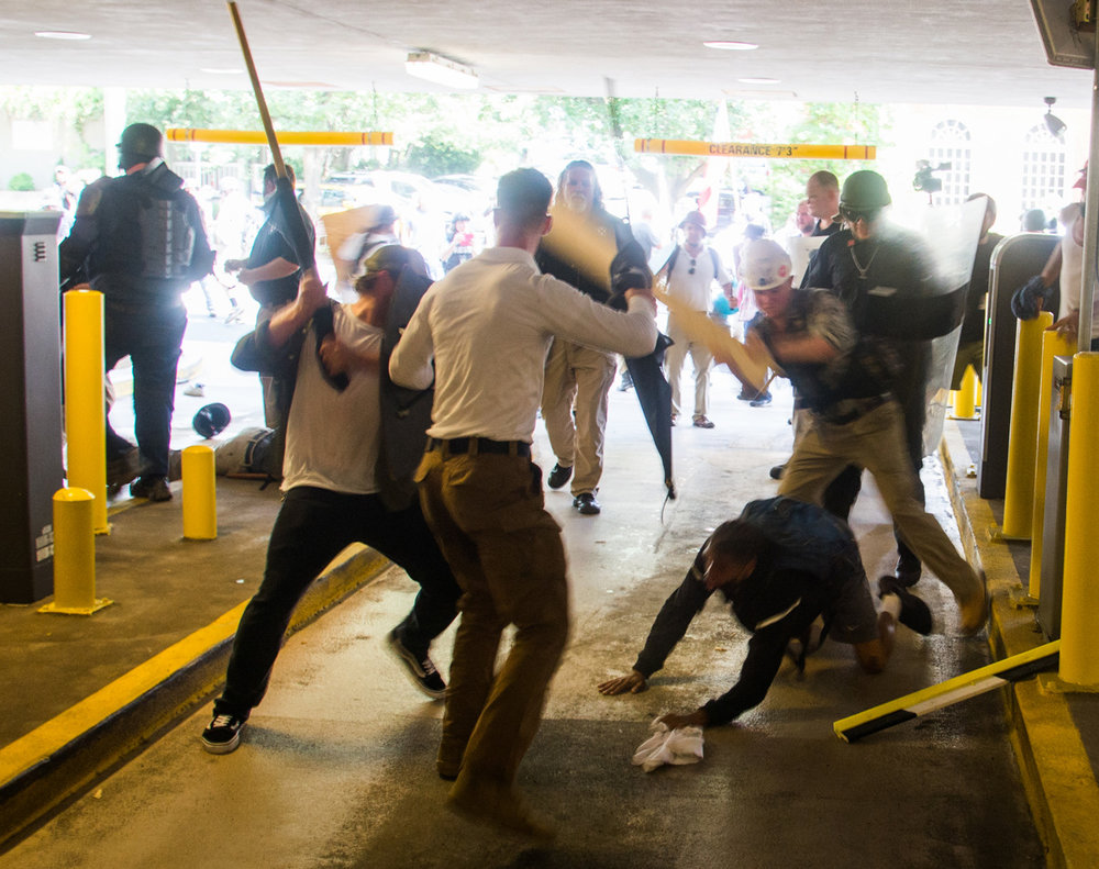 Source: The Village Voice; White Supremacists attacking unarmed Deandre Harris in  Charlottesville, VA.