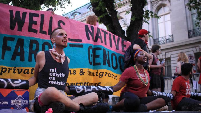 Source: WAMU; No Justice No Pride demonstrators disrupting Washington, DC Pride parade.