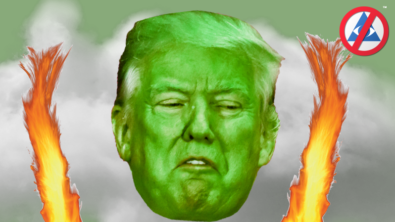 Source: ConSpot; a green Trump head surrounded by fog and flames.