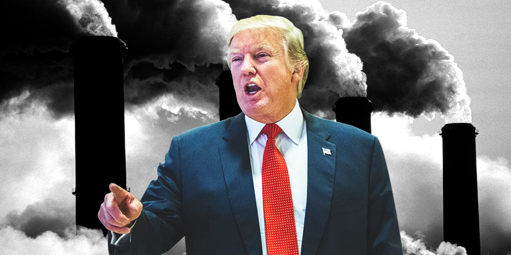 Source; Cosmopolitan; a picture of Trump edited before smoke stacks.