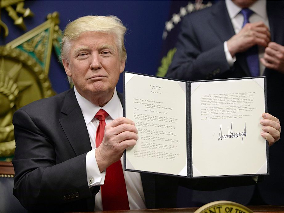 Source: Business Insider; Trump signs executive order to restrict immigration.