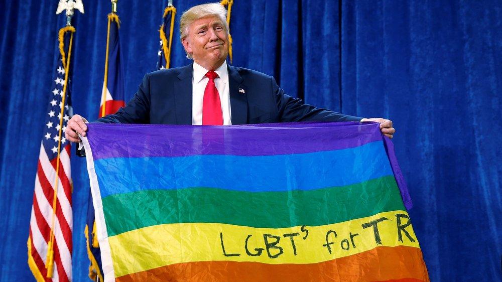 Source: Quartz; Trump holds a rainbow flag upside down