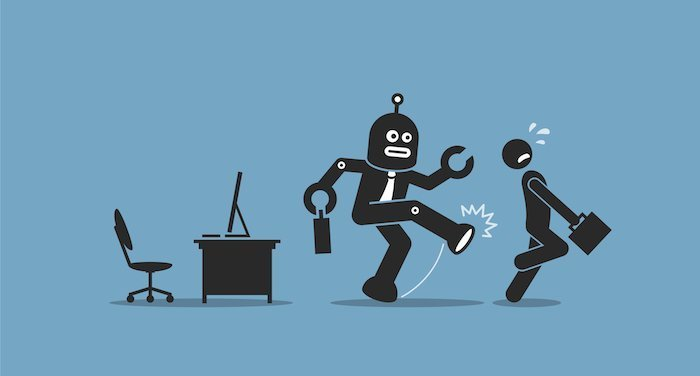 Source: Huffington Post; Robot worker kicking a human worker