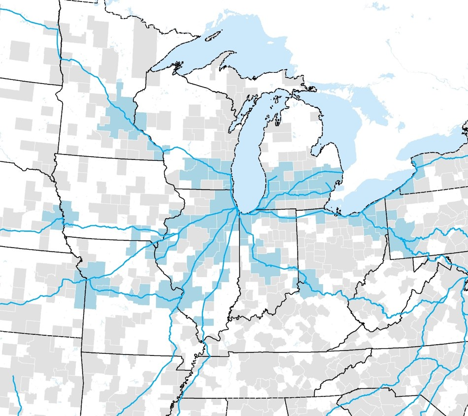 The map shows the existing Amtrak network in the Midwest with core-based statistical areas used in CONNECT analyses highlighted in blue. CONNECT is an FRA tool used to estimate ridership and costs for intercity rail networks. Learn more about CONNECT in the FAQs.