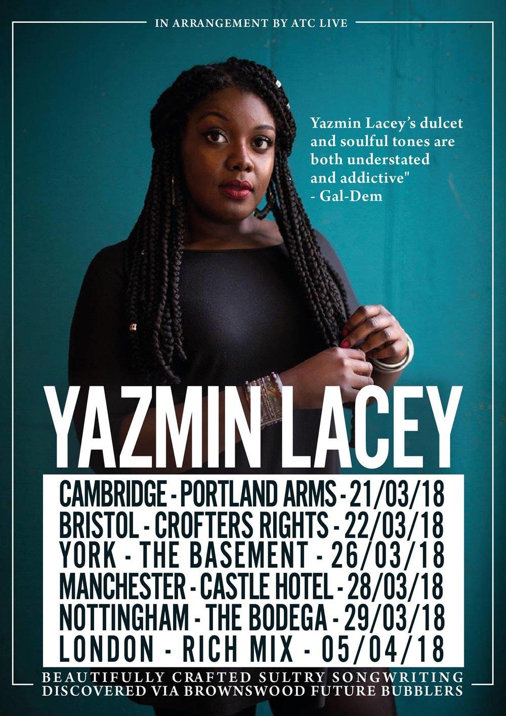 Yazmin Lacey Tour, Spring 2018