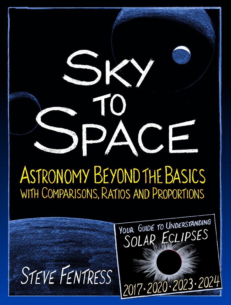 """Sky to Space: Astronomy Beyond the Basics with Comparisons, Ratios andProportions... - ...gets you started as a space explorer. This book shows you how to follow the clockwork motions of Earth's sky, then how to predict what you would see from our moon, other planets and moons in our solar system and other solar systems.You'll get scientifically accurate results using pencil, paper and easier-than you-think math. An extensive chapter on eclipses explains the movements of the moon and its shadow and shows you how to predict eclipses using the Saros cycle. Additional moon chapters include """"Giant Moon,"""" """"Red Moon"""" and """"Why Does the Moon Seem to Follow Your Car?""""This book contains many project ideas. With a pencil, a ruler, and two coins, accurately draw the phase (crescent, quarter, or gibbous) of any moon or planet as seen from anywhere in a solar system. Figure out how far you must fly from Earth for our home planet to appear as a point of light. Use real data to predict how big one of the TRAPPIST-1 exoplanets would appear in the sky of one of its neighbors.Science students looking for project topics, homeschool and unschool families, amateur astronomers and model rocket flyers, lifelong learners and space cadets of all ages will find exciting new ideas in this book."""