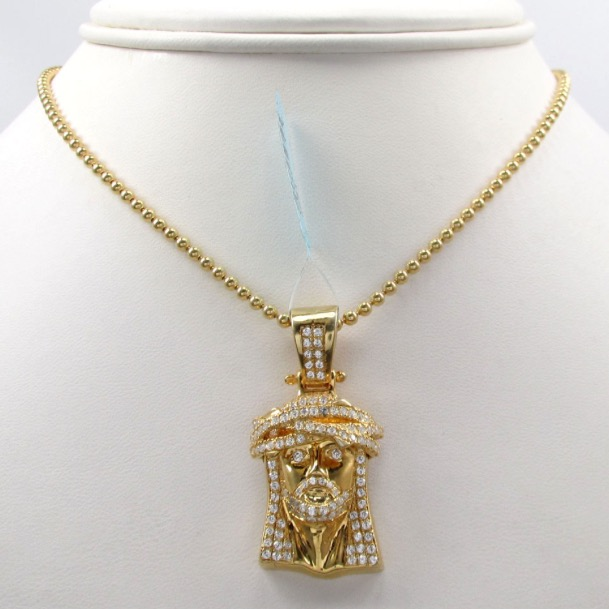 with rope pmujewelry chain pendant piece gold jesus yellow necklace set
