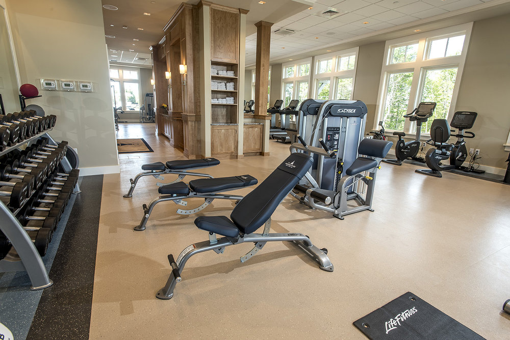 1,800 square foot fitness room with Cybex equipment
